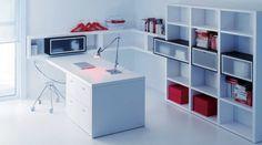 escritorio y librerías blanco y gris vulcano de lagrama  www.moblestatat.com horta barcelona