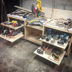 Learn to Launch your Carpentry Business - Slide out shelves for power tools for under the workbench Learn to Launch your Carpentry Business - Discover How You Can Start A Woodworking Business From Home Easily in 7 Days With NO Capital Needed! Workshop Design, Workshop Storage, Workshop Organization, Garage Workshop, Garage Organization, Organized Garage, Garage Storage, Workshop Ideas, Lumber Storage