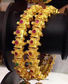 One Gram Gold Bangle Designs 2016, Latest Model 1 Gram Gold Bangle Collections, One Gram Gold Ruby Bangles
