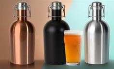 BEER LOVER'S FAVOURITE  Catch the coolest trend in party apparel today... with the unique new Stainless Steel Growler 2 go. It's a totally awesome growler, dude! Available in natural Stainless Steel, midnight black, or rustic copper finishes. Ideal gift for the novice beer lover or even for the craft beer connoisseur.  #Beer_Lovers #Beer #Water_Bottles #Bottles