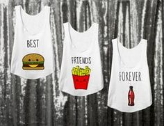 3 Matching bff Shirts for best friends, bestie shirts, Hamburger, Fries, Soda… Omg I need this for My bffs Bff Shirts, Best Friend T Shirts, Best Friend Outfits, Best Friend Goals, Cute Shirts, Best Friend Clothes, Best Friend Matching Shirts, Bff Clothes, Funny Shirts