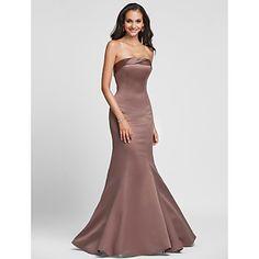 Floor-length Satin Bridesmaid Dress - Ruby / Royal Blue / Brown / Champagne / Regency Plus Sizes / Petite Trumpet/Mermaid Strapless – USD $ 69.99