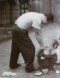"""gojublog: """"A young Mas Oyama, Founder of Kyokushin Karate. Breaking rocks with his bare hands. """""""