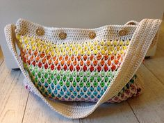 "After a few rows, which can feel tricky, it'll be a quick and easy project. You can make this bag in as many or few colors as you like (but at least two). Size is about Height: 12"" / 30cm Width: 15.5"" / 40cm using aran weight yarn and a 3.5mm hook. But you can use other yarn and/or hook, but that will affect the size of the final item. Cotton yarn is prefered. I used 300g-400g for the sample bag."