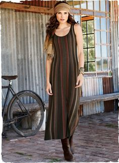 Our elongating pima tank dress is links knit in vertical stripes of earthen hues to flatter the figure, with engineered gores for an easy A-line silhouette.