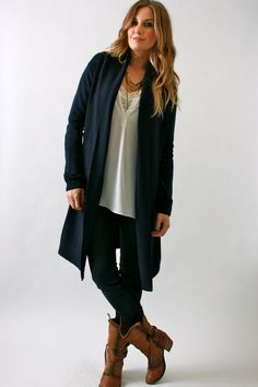 Kerisma, Long Draped Jacket-Sweater in Navy Blue, Heather Grey, or Black. vivadivaboutique.com