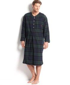 5863fbb3ba Polo Ralph Lauren Men s Plaid Flannel Pajama Nightshirt Men - Pajamas