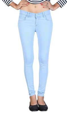 Women Girls Stretchable Ice Blue Slimfit Jeans For Waist 28  to 40