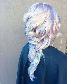 "Pinterest: dopethemesz ; iridescent dreams; "" Holographic Dimensional Silver Violet Romantic Braid by the team at Ross Michaels using @pravana and @kenraprofessional"""