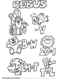Kleurplaat Rebus Sinterklaas - Kleurplaten.nl Roald Dahl, Diy For Kids, Spelling, Coloring Pages, Life Hacks, Van, Seasons, Prints, Drawing