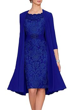 APXPF Women's Tea Length Mother Of The Bride Dresses Two Pieces With Jacket Royal Blue Custom Made