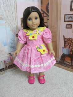 18 inch American Girl Pink and Yellow Ice Cream Doll Dress by…