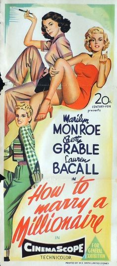 Marilyn Monroe, Betty Grable & Lauren Bacall - How To Marry A Millionaire Window Insert.
