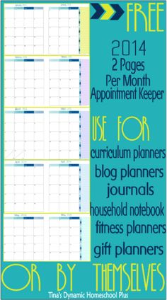 My Free 2014 2 Page Calendar Appointment Keepers are Here - tinasdynamichomeschoolplus.com