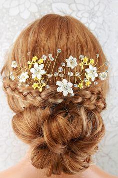 Bridal Hair Vine Wedding Head Band Crystal by goddessdesignsgems Bridal Comb, Bridal Hair Vine, Wedding Headband, Bridal Accessories, Wedding Jewelry, Wedding Hair Pieces, Gold Wedding, Vines, Wedding Hairstyles