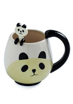 Panda Fancy Mug Set. We think every animal lover will fall in love with this adorable mug and spoon set by Japanese Gift Market. #white #modcloth