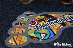 Footprint Floor Stickers for Burrito Kitchen #footprintfloorstickers #floorstickers