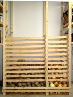 Tater + onion dispenser system. . . .as long as you can make it so you can take out those front slats in cas you have to dig and find a bad one