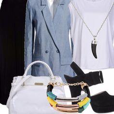 Outfit adatto alla realtà metropolitana, per non passare inosservate ed essere sempre al passo con i tempi.  Look semplice ma con pezzi ricercati e scrupolosamente abbinati.  Per essere sempre al top con stile e buon gusto.