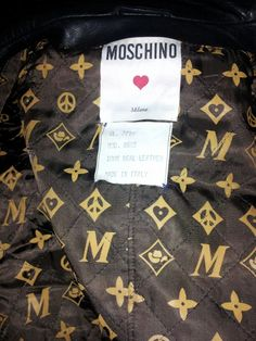 The lining of an early Franco MOSCHINO leather motorcycle jacket I bought in St. Moritz, February 1984. Note Franco's hommage to Louis Vuitton, with his peace sign and hearts. Moschino was a revolutionary at the time. He died far too young.