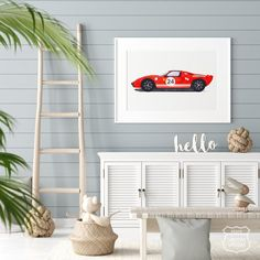 Sport Car Print Racing Car Wall Art Classic Sports Car Red | Etsy