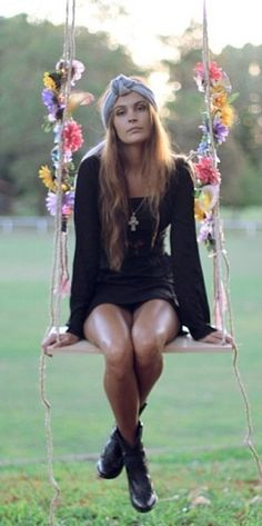 Boho girl on swing. Hippie | Boho | Gypsy | Inspiration | Festival | Fashion…