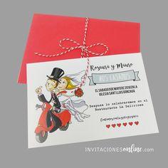 Invitacion de boda con personajes novios en moto #bodas #noscasamos #casament #invitacionesdeboda #invitacionesonline #papelypapel #invitacionesdivertidas #invitacionesinformales