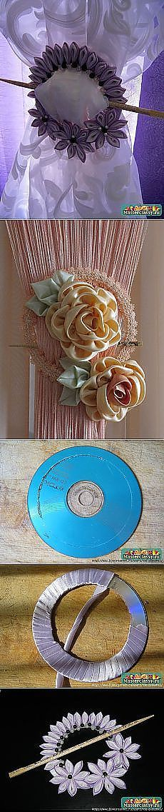 Unusual tie backs for curtains.an old CD is used for the backing.with a chop stick piker perhaps? Handmade Flowers, Diy Flowers, Fabric Flowers, Paper Flowers, Ribbon Art, Ribbon Crafts, Sewing Projects, Craft Projects, Projects To Try