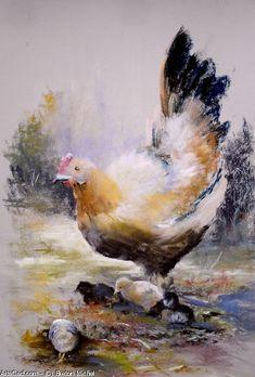 Oeuvre >> Breton Michel >> Mère Poule Chicken Pastel, Coq, Watercolor Paintings, Watercolour, Michel, Oeuvre D'art, Old Pictures, Les Oeuvres, Doodles