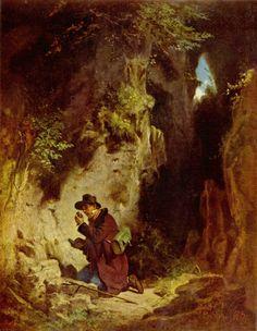 Carl Spitzweg (1808–1885) Der Geologe Date circa 1860  oil on paperboard mounted on canvas  44 × 34.5 cm (17.3 × 13.6 in)   Von der Heydt-Museum   2,024×2,608 pixels