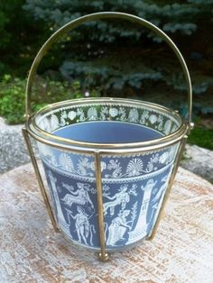 Vintage mid century glass ice bucket