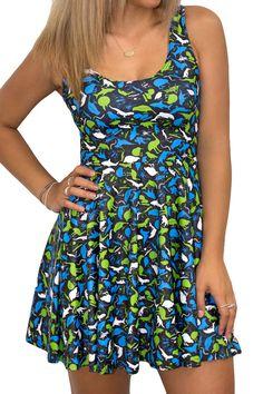Summer Pleated Blue Sleeveless Print Mini Dress