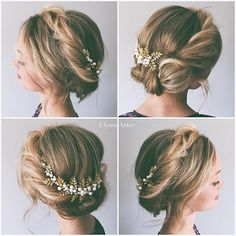 This look is so gorgeous with small flowers added! Prom Hair Updo, My Hairstyle, Fancy Hairstyles, Wedding Hairstyles, Bridesmaid Hair Half Up, Prom Hair Medium, Wedding Hair And Makeup, Hair Videos, Hair Inspiration