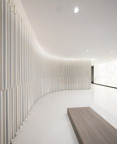 Where could you picture this interior? We think it would make a great interior for a modern art museum. a shop for minimal design lamps? Lobby Interior, Interior Walls, Modern Interior, Interior Design, Commercial Design, Commercial Interiors, Ceiling Design, Lamp Design, Space Architecture