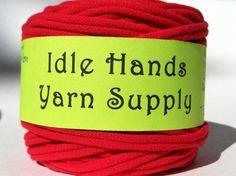 Red Tarn Recycled T Shirt Yarn  37 Yards 4 by IdleHandsYarnSupply, $5.55