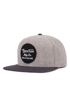 24c4643aa8e653 Brixton 'Wheeler' Snapback Cap Custom Embroidered Patches, Acrylic Wool,  Sew, Brixton