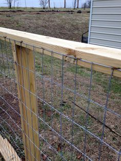 When we built the goat pen for our NIGERIAN DWARF GOATS, we knew that we eventually wanted to make it bigger as our herd grew. So we knew that whatever we did in regards to fencing, it had to be te… Goat Fence, Farm Fence, Backyard Fences, Diy Fence, Garden Fencing, Sheep Fence, Backyard Farming, Ranch Fencing, Horse Fencing