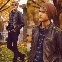 Aviator Glasses with beanie hat and leather Jacket . A perfect casual winter look.