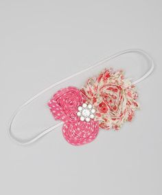 Take a look at this Pink Floral Rhinestone Flower Headband on zulily today!