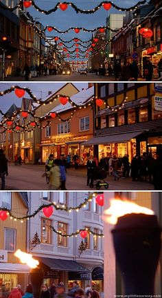 Tromsø Norway, citystreet at Christmas
