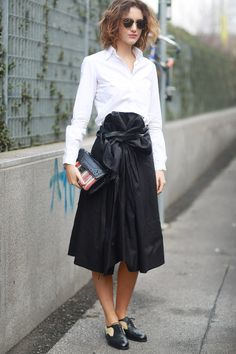 MFW Street Style Day Four: Black and white and a fresh spin on the classics. Source: Tim Regas