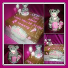 Christening Cake with hand made Chocolate Modeling Bear.