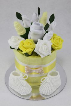 Clothes Flower Bouquet Nappy Cake - Yellow.