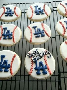 Dodgers Cookies. Baseball. LA. Think Blue. Bleed Blue. Red. White. Blue. Love. DIY. Happy Birthday. Party. ITFDB.