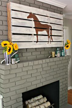 Modern + Rustic Fall Mantel {with step-by-step details on creating the horse pallet} @Stephani Nelson Lovelady