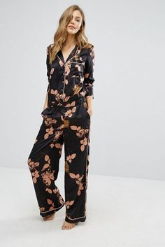 S Dark Floral Pyjama Jumpsuit at ASOS. With free delivery and return options (Ts&Cs apply), online shopping has never been so easy. Get the latest trends with ASOS now. Cute Sleepwear, Sleepwear Women, Night Outfits, Fashion Outfits, Outfit Night, Night Dress Online, Girls Night Dress, Ladies Night, Night Suit For Women