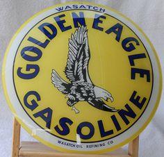"15"" GAS PUMP GLOBE LENS SIGN - GOLDEN EAGLE WASATCH"
