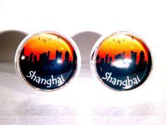Ohrstecker Skyline Shanghai China Damen Ohrringe Ohrschmuck Modeschmuck Glas