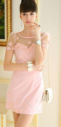 Morpheus Boutique  - Pink Floral See Through Short Sleeve Hem Celebrity Dress