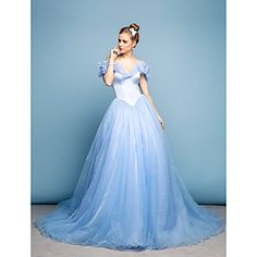 Cinderella Mini Me Dress Ball Gown Off-the-shoulder Chapel Train Satin/Tulle Dress – USD $ 149.99